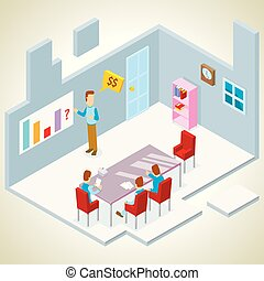 presentation in a meeting room isometric
