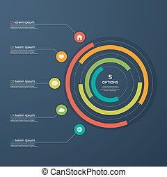 Presentation infographic circle chart with 5 options