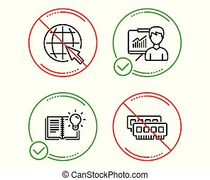 Presentation, Internet and Product knowledge icons set. Ram sign. Vector