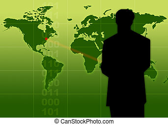Presentation - Manager in front of a chart / world map.