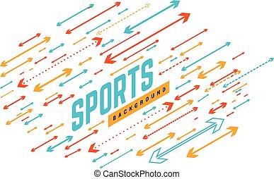 presentation., manifesto, illustrazione, arrows., uso, sport, lattina, essere, sport, vettore, notizie, geometrico, fondo