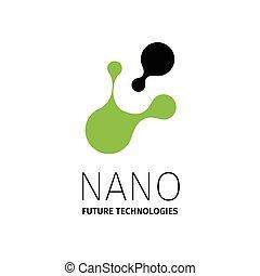 presentation., nano, logotype., -, vettore, disegno, sagoma, logotipo, nanotechnology.