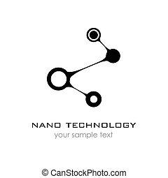 presentation., nano, -, vettore, disegno, sagoma, logotipo, logo., nanotechnology.