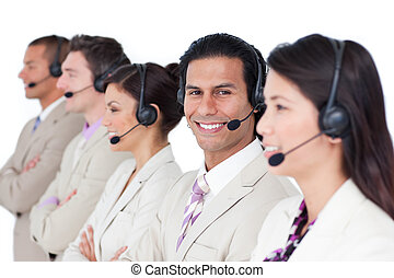 Presentation of a blissful business team lining up