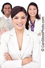 Presentation of a smiling business team