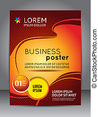Stylish blue presentation of business poster. Design layout template