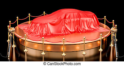 Presentation of car concept, podium with auto covered red cloth. 3D rendering