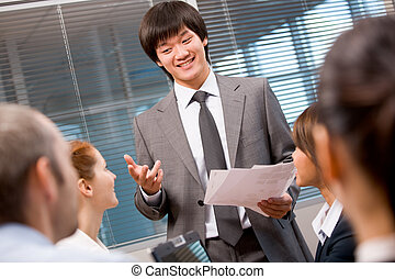 Presentation of idea - Photo of confident businessman making...