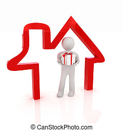 Presentation of new house. 3d man holds the gift, and is within