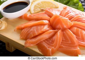 Presentation of raw fresh salmon sashimi