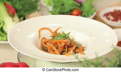 Presentation of Stir Fried Asian Vegetables with Mushrooms...