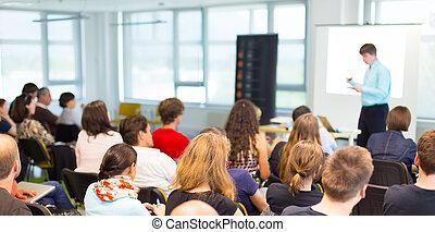 presentation., orador, convenção negócio