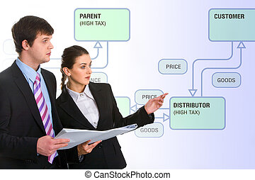 Presentation - Image of successful business people doing a...