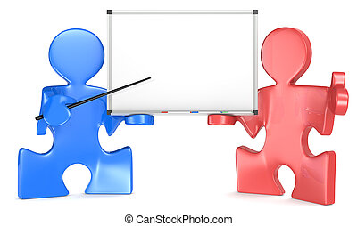 Presentation. - Puzzle people x 2 with Blank Whiteboard....