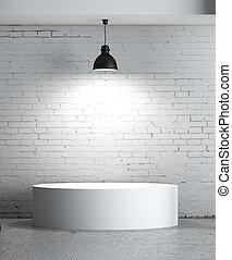 presentation room - brick concrete room with box...