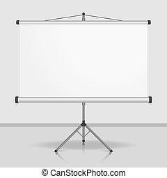Presentation screen, blank whiteboard