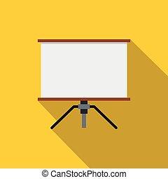 Presentation screen icon, flat style