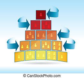 presentation template of a progress in pyramidal shape...