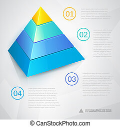 Presentation template with pyramidal diagram ant text,...