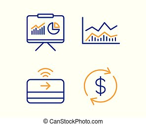 Presentation, Trade infochart and Contactless payment icons...