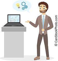 presentation., uomo affari