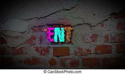 PRESENTATION word revealing on a dark brick wall