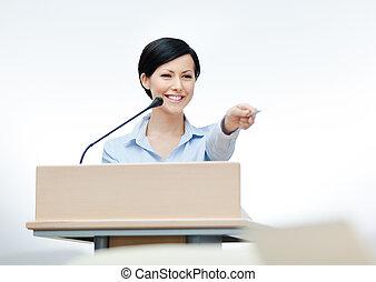 presentator, plank, vrouwlijk