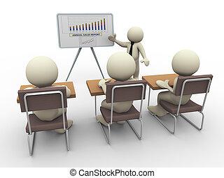 presentazione, affari, 3d