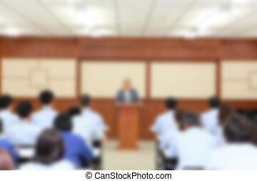presentazione, affari, sfocato