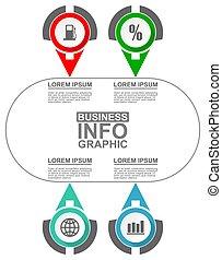 presentazione, affari tela, 4, opzioni, circolare, infographic, vettore, diagramma, sagoma