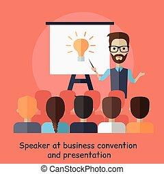 presentazione, altoparlante, convenzione affari