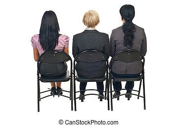 presentazione, donne, tre, indietro