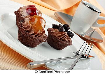 presentazione, frutta, espresso, eleganza, torte