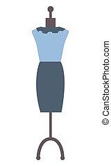 presentazione, indossatrice, blu, vettore, vestire, elegante
