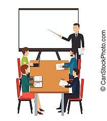 presentazione, officina, class., bastone, insegnante, lavagna, personale, gruppo, maestro, fronte, affari condurre, lecture.