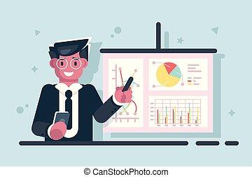 presentazione, uomo affari, puntatore, grafico, bastone