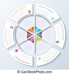 presentazione, workflow, disegno, opzioni, astratto, usato, cerchio, educazione, segments., disegno, vettore, infographic, diagramma, sei, grafico, illustrazione, numeri, disposizione, essere, web, o, lattina