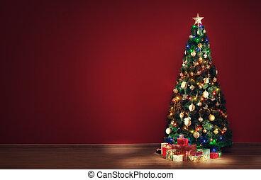 presente, algum, árvore indoor, caixas, decorado, agradável, natal, vista