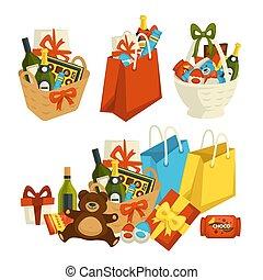 presente, alimento, comemorar, cesta, ocasião, especiais