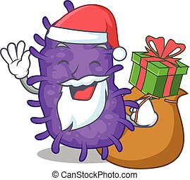 presente, bactérias, caricatura, santa, desenho, natal, bacilli