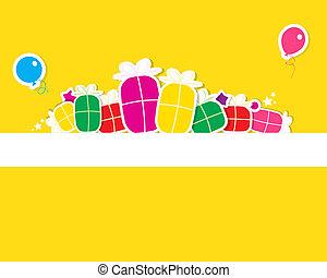 presente, balloon, ar, caixas, cartão aniversário