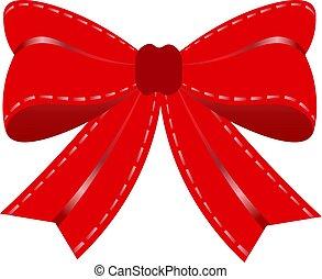 presente, bow., vermelho