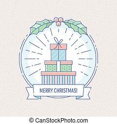 presente, boxes., ano, novo, emblema, natal