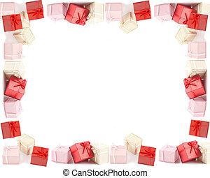 presente, caixas, quadro, ou, borda