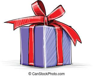 presente, caja, caricatura, bosquejo, vector, ilustración