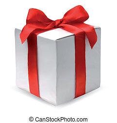 presente, caja, con, rojo, bow., vector