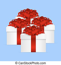 presente, cobrança, arco, caixa, vermelho