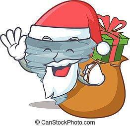 presente, desenho, santa, caricatura, natal, tornado