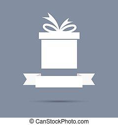 presente, design., caixa, ribbon., apartamento