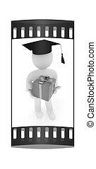 presente, graduação, experiência., faixa, branca, homem, chapéu, película, 3d